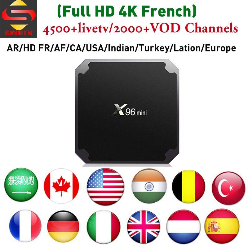 4K HD France IPTV Box X96 mini with SINOTV app to watch Canada Arabic  Europe Albanian YUGOSLAVIA SCANDINAVIAN Portugal IP TV