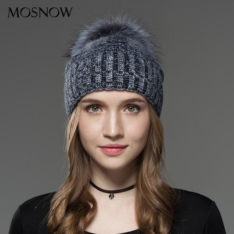 Mosnow Hats For Women New Wool Silver Fur Pom Poms Mix Color Winter Knitted Casual Vogue Warm Winter Hats Skullies Beanies