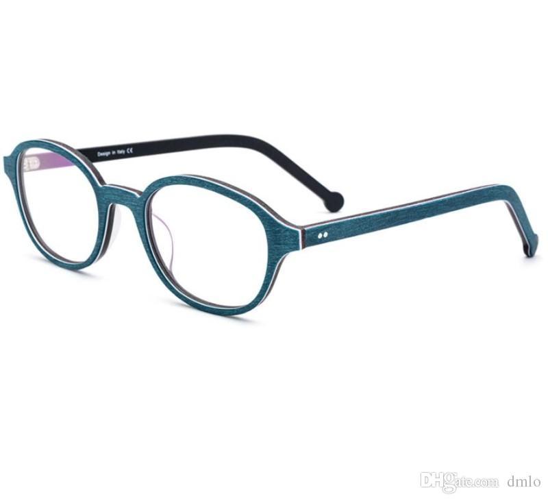 2018 Men Optical Glasses Frame Brand Plank Round Frame Eyeglasses ...