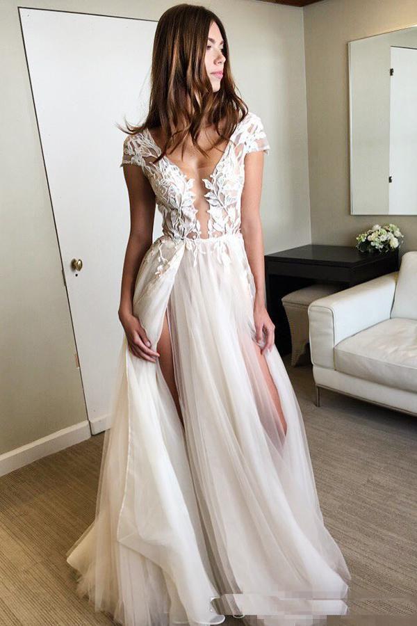 2018 lindo Sexy Backless A linha de vestidos de noiva rendas verão praia com decote em v ilusão apliques de tule camadas saias coxa-alta fendas nupcial