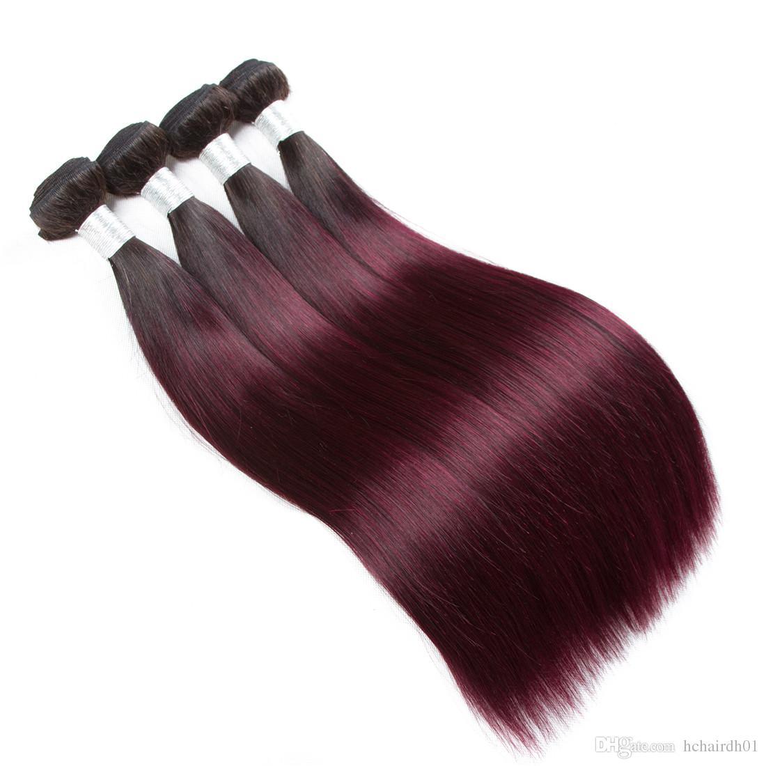 Мода Леди в цвета бразильского прямые волосы 3 пачки 1В/99j человеческих волос non-Реми Ombre волос Weave связки