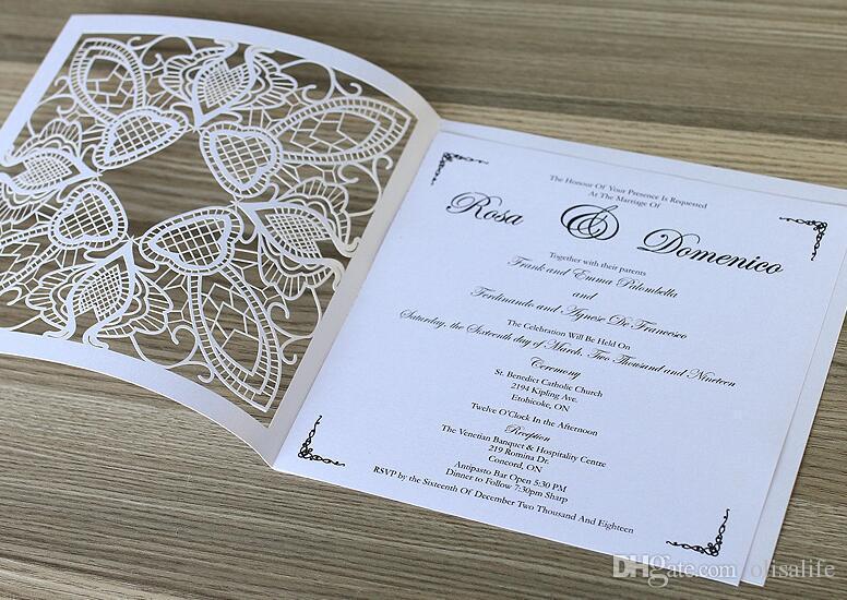 Laser Cutting Hollowed Square Fashion Design Invitation Cards