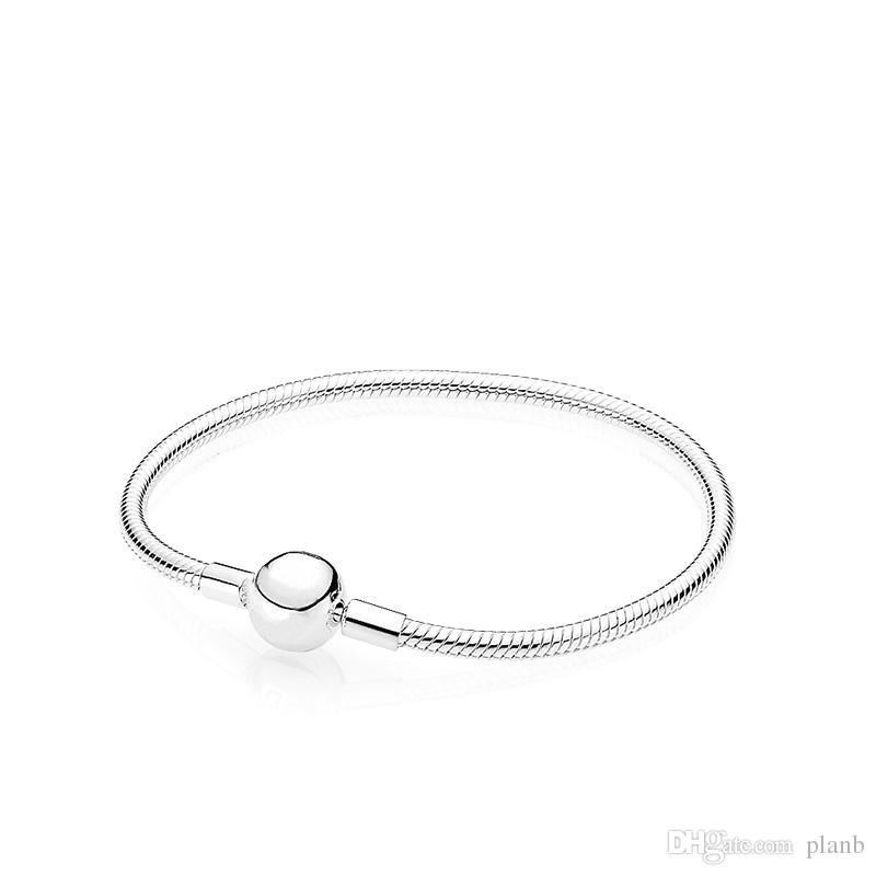 925 Sterling Silver Smooth 3MM Snake Chain European Beads fits Pandora Bracelet Bangle Chain Jewelry with Logo Gift For Men Women