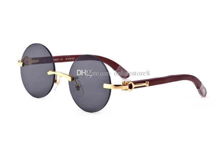 Francia diseñador de la marca sin montura gafas de sol redondas patas de madera gafas de cuerno de búfalo para hombres, mujeres, lunetas, gafas de bambú de madera con caja roja