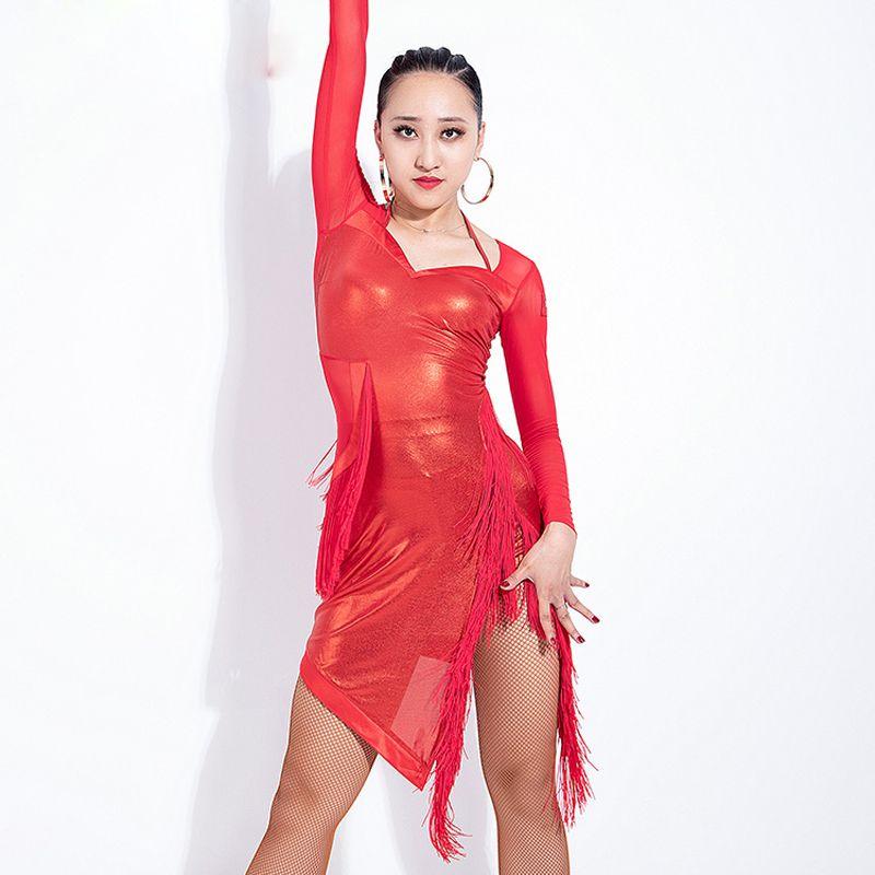 28cefe6c49 Fashion Mesh Yarn Latin Dance Dress Costume For Women Performance ...