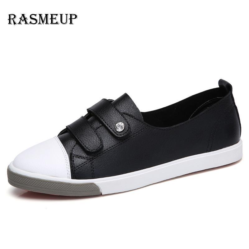 92e78c022e1d RASMEUP Genuine Leather Women s Flat Sneakers 2018 Spring Women Slip ...