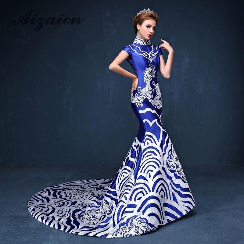 c4476627e4 Elegant Blue Porcelain Chinese Sexy Traditional Oriental Evening Dress  Women For Wedding Party Backless Cheongsam Free Custom