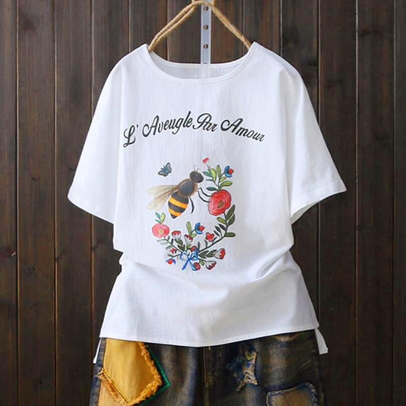 Floreale T Stampa Shirt Donna Acquista Harajuku Vintage In Cartoon Rjq35LAc4