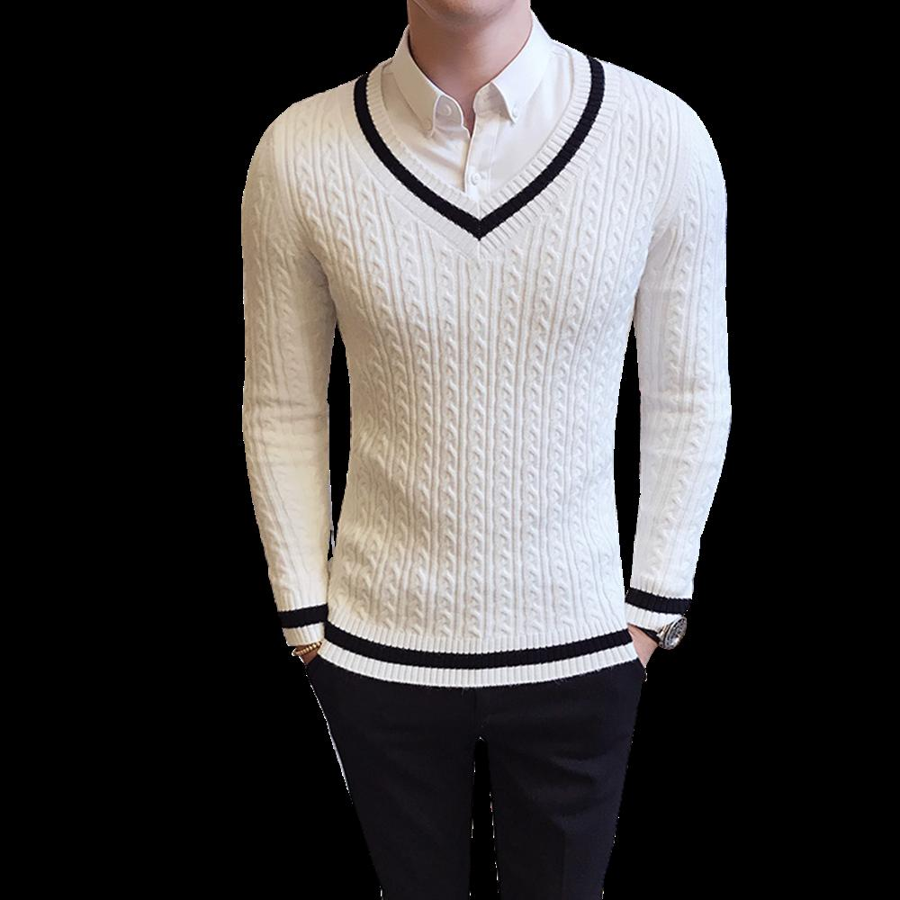 90a3f8c2ec 2019 2017 High Quality Casual Sweater Mens Pullovers Autumn Winter Knitting  Long Sleeve V Neck Slim Knitwear Sweaters Size M XXL From Vanilla10