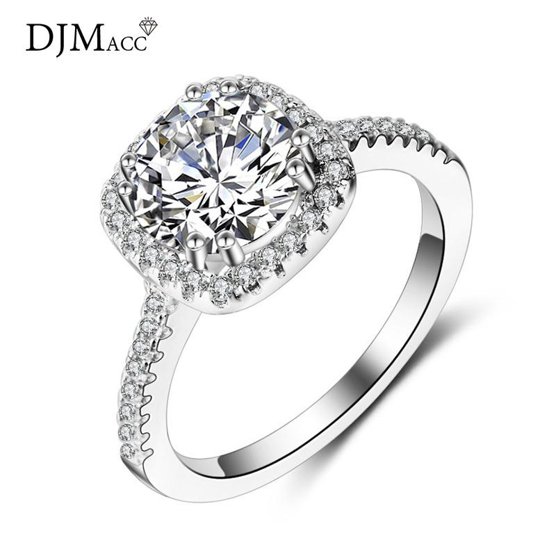108a9cb360b9 Dropshipping 925 Sterling Silver Ring Big Stone 8MM Zircon Wedding ...