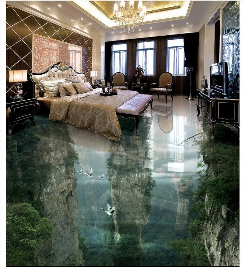 Großhandels-3d PVC-Bodenbelag imprägniern Selbstklebende 3d kundenspezifische Wandwandbilder Tapete Irdische Märchenland-Klippen Badezimmer 3D Bodenfliesen-Boden