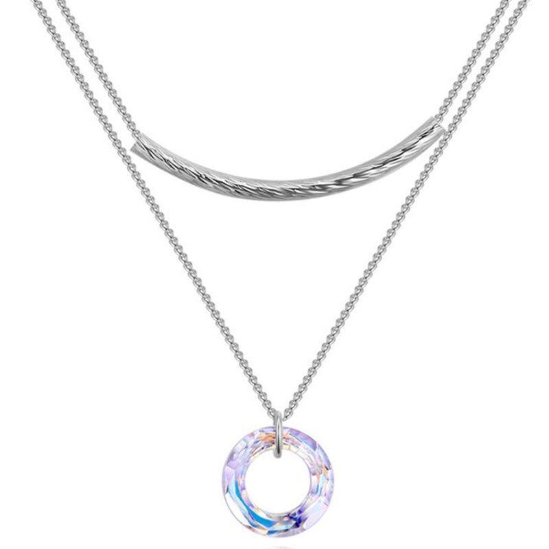 Acheter Cristal Rond De Swarovski Elements Haute Qualité Collier Pendentif  Pour Les Femmes Bijoux De Mode Double Chaîne Collier 27101 De 7,01 € Du ...
