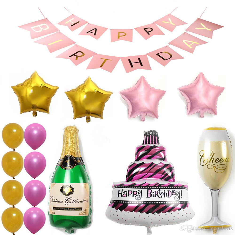 Pink Happy Birthday Cake Champagne Cup Bottle Foil Balloon Party Pack Gold Latex Decorations Supplie Hotair Fun