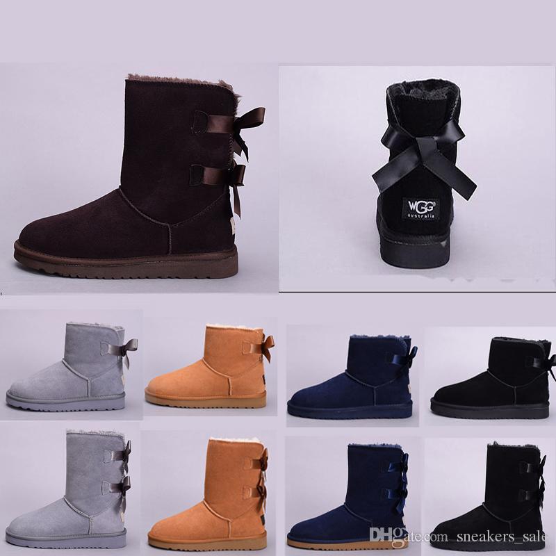 Boots Серый Красные Дизайнер Женские Австралия Лодыжки Коленях Ugg Bowtie Половина Черный Синий Сапог Классический Честнат Wgg На shxQCdBtr