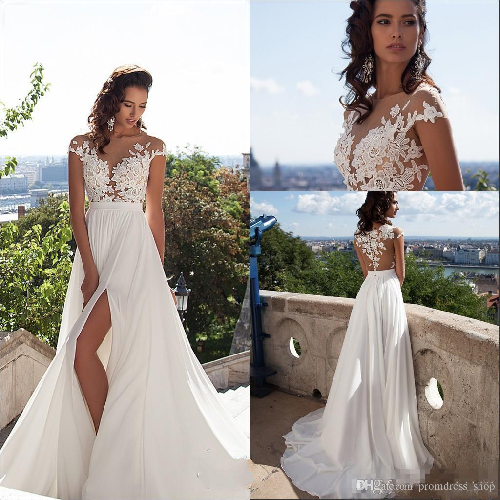 01626af106 Sexy Illusion Cap Sleeves Lace Top Chiffon A Line Wedding Dresses 2019  Tulle Lace Applique Split Summer Beach Bridal Gown With Buttons