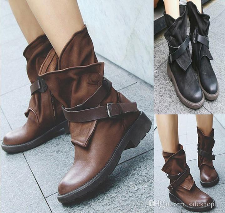 8cfc3c403 Compre Moda Medio Botas Militares Mujeres Hebilla De Cuero Artificial  Patchwork Zapatos Sapatos Mulheres Conforto 35 43 A  35.18 Del Saleshop01