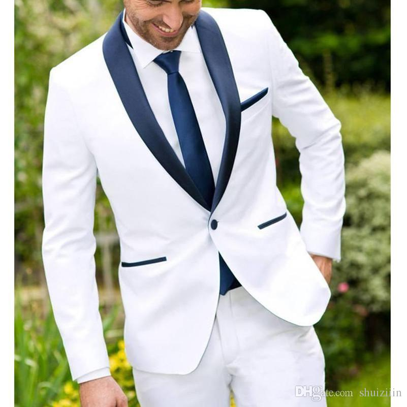 Two Piece White Wedding Suits Groomsmen Tuxedos 2018 One Button Navy Shawl Lapel Custom Made Business Men Suits Jacket+Pants+Tie