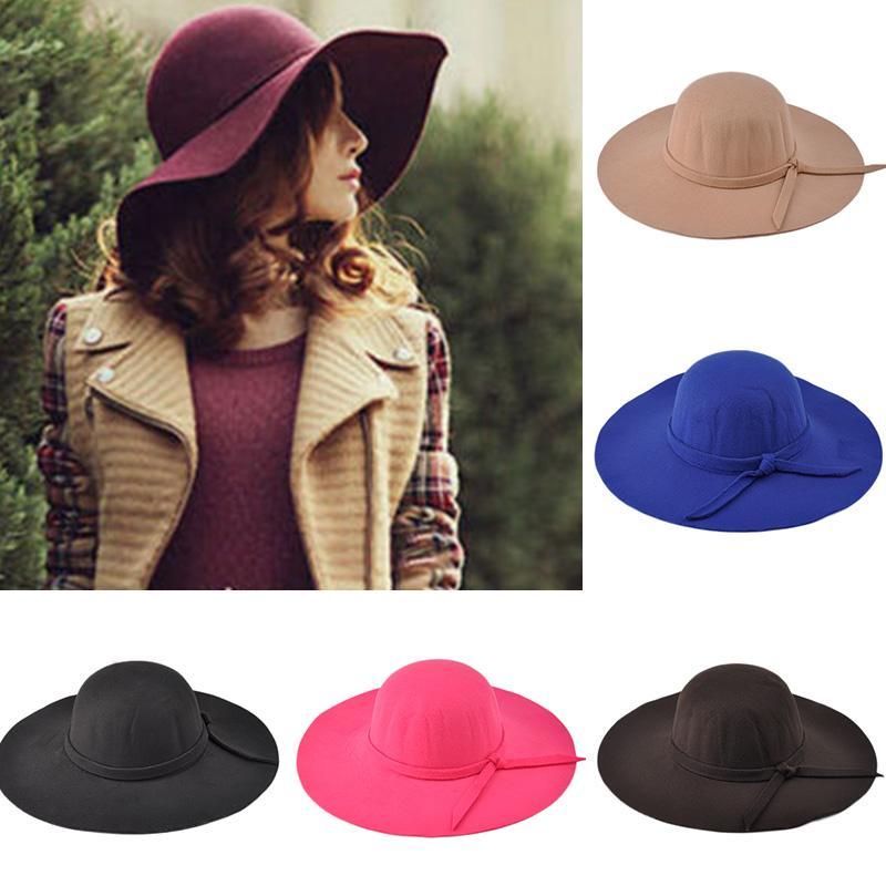 2018 Fashion Women Lady Dome Top Wide Brim Wool Felt Bowler Fedora Hat  Floppy Cloche Sun Protection Beach Bowknot Cap Fall Hat Tea Party Hats Rain  Hat From ... 9d859c037182