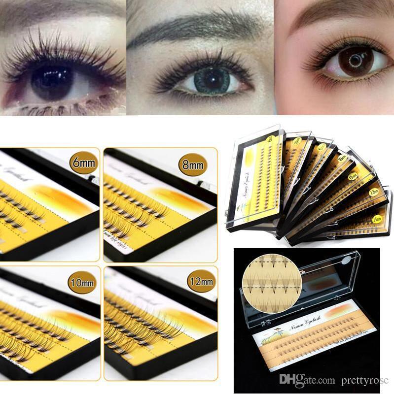 60 unids / set Injerto de pestañas postizas Individual Visón Extensión de Pestaña Falsa Suave Negro Fake Eye Lash 6-14mm Maquillaje Toool