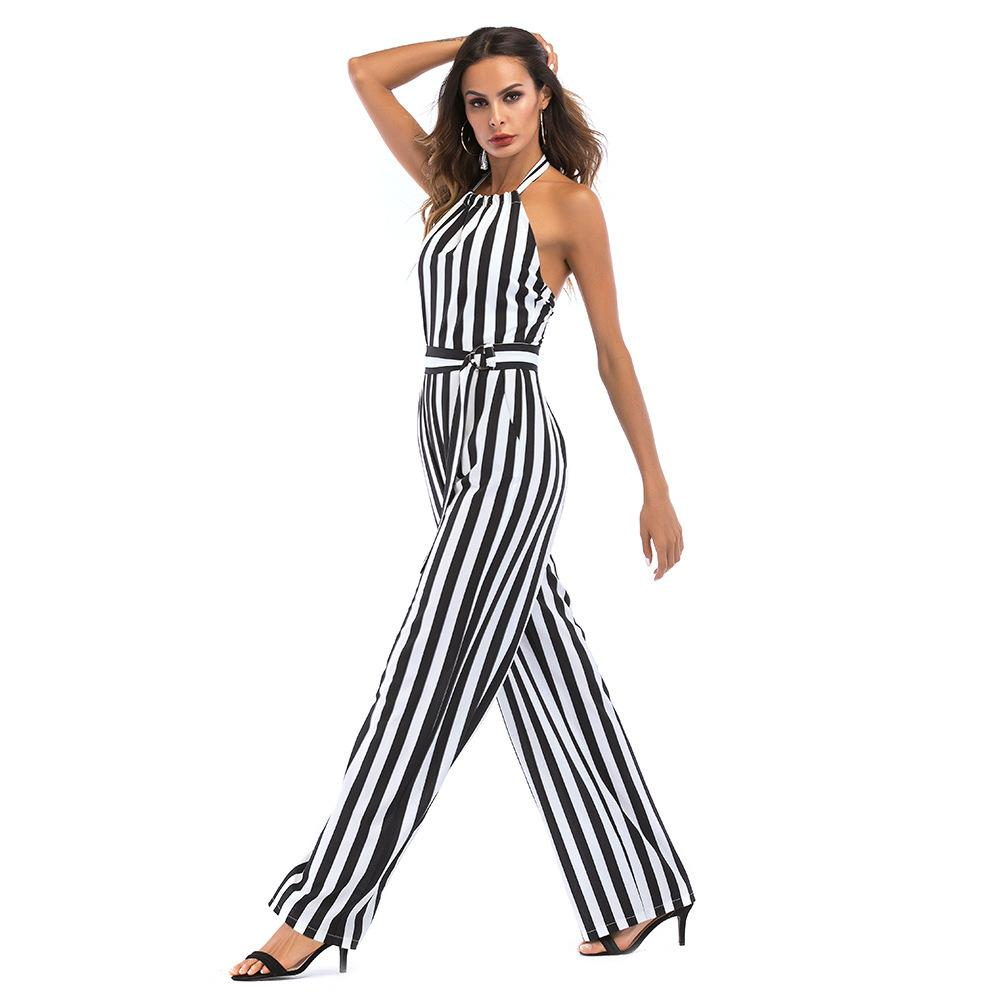 Sisjuly summer Women Wide legs halter Jumpsuit Sleeveless Backless Elegant Striped Sexy Spaghetti Strap Rompers Casual Jumpsuits