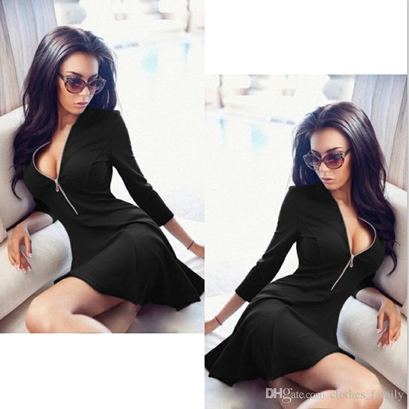 Top 2020 New High Quality Women Fashion V Collar Zipper A Dress Plus Size Leisure Cotton Slim Sexy Casual Skirt Party Mini Dresses