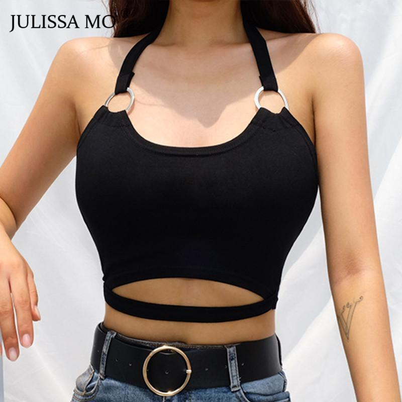 6a220674a8d 2019 JULISSAMO Sexy Halter Hollow Out Crop Top Women Black Backless Lace Up  Tank Top Summer Casual Streetwear Short Tops Cami 2018 From Meicloth