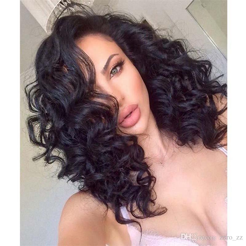Top Selling Natural Black color Deep wave Lace Front Wig Human Hair Wig with Baby Hair DHL