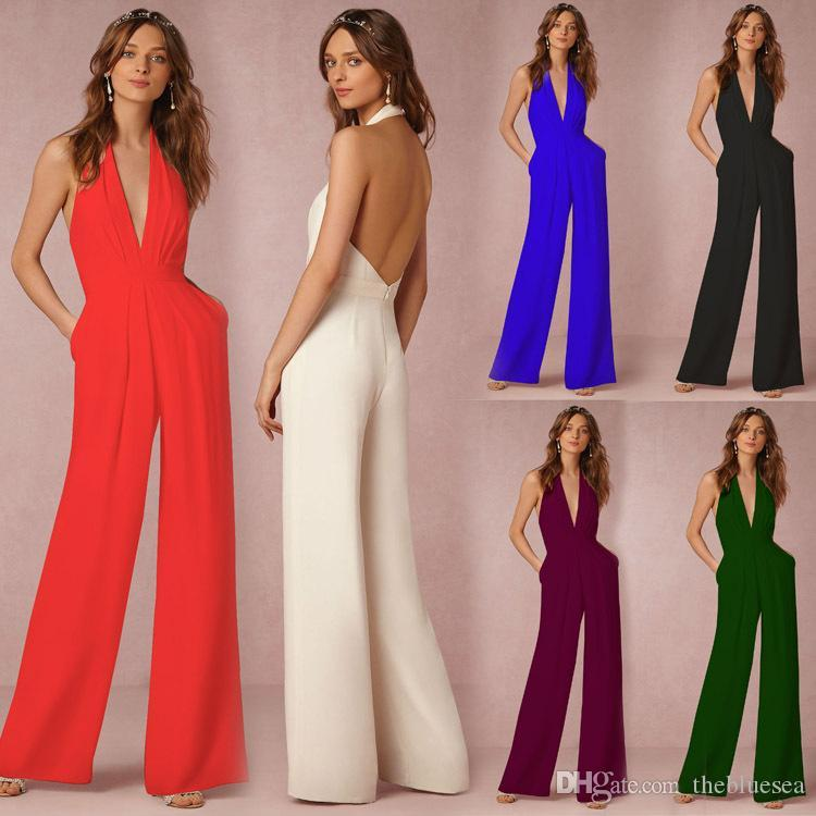 56c82161d8c3a Sexy Backless Sleeveless Halter Jumpsuit Wide Leg Pants Women Plus Size  Summer Spring Autumn New Deep V Collar Pleated Rompers Trousers Sleeveless  Halter ...
