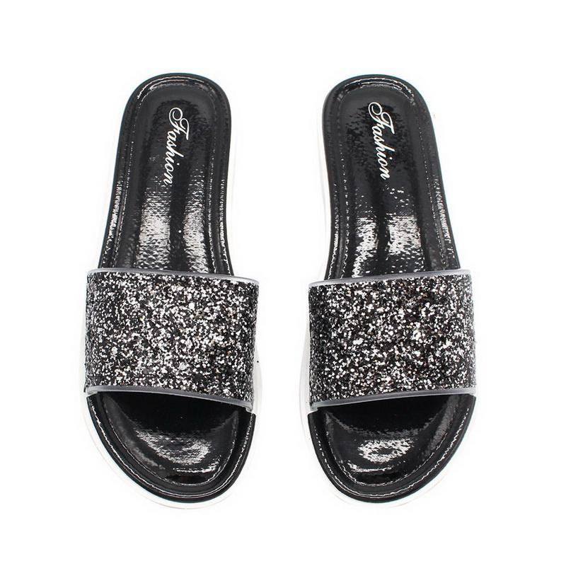 239115d25 Laamei Bling Summer Women Slides Slippers Beach Flip Flops Sexy Open Toe  Slides Female Fashion Glitter Sandals Sliver Gold Flops Rain Boots Mens  Shoes From ...