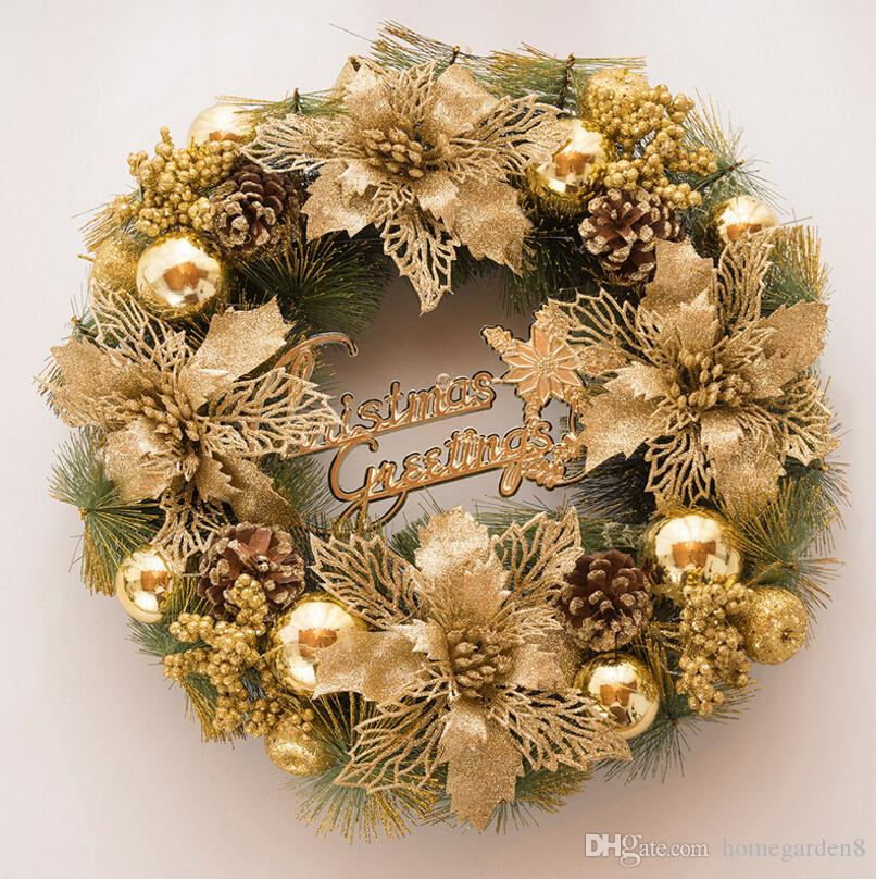 christmas wreath new supply decoration christmas decoration flower gold exquisite door hanging window decoration scene layout christmas house decorating