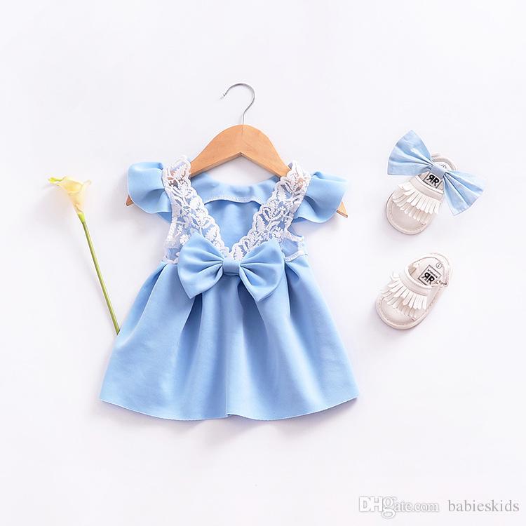 2018 new girl dress alta qualidade do bebê fly manga lace arco voltar princesa meninas summer dress vestidos sem mangas crianças roupas