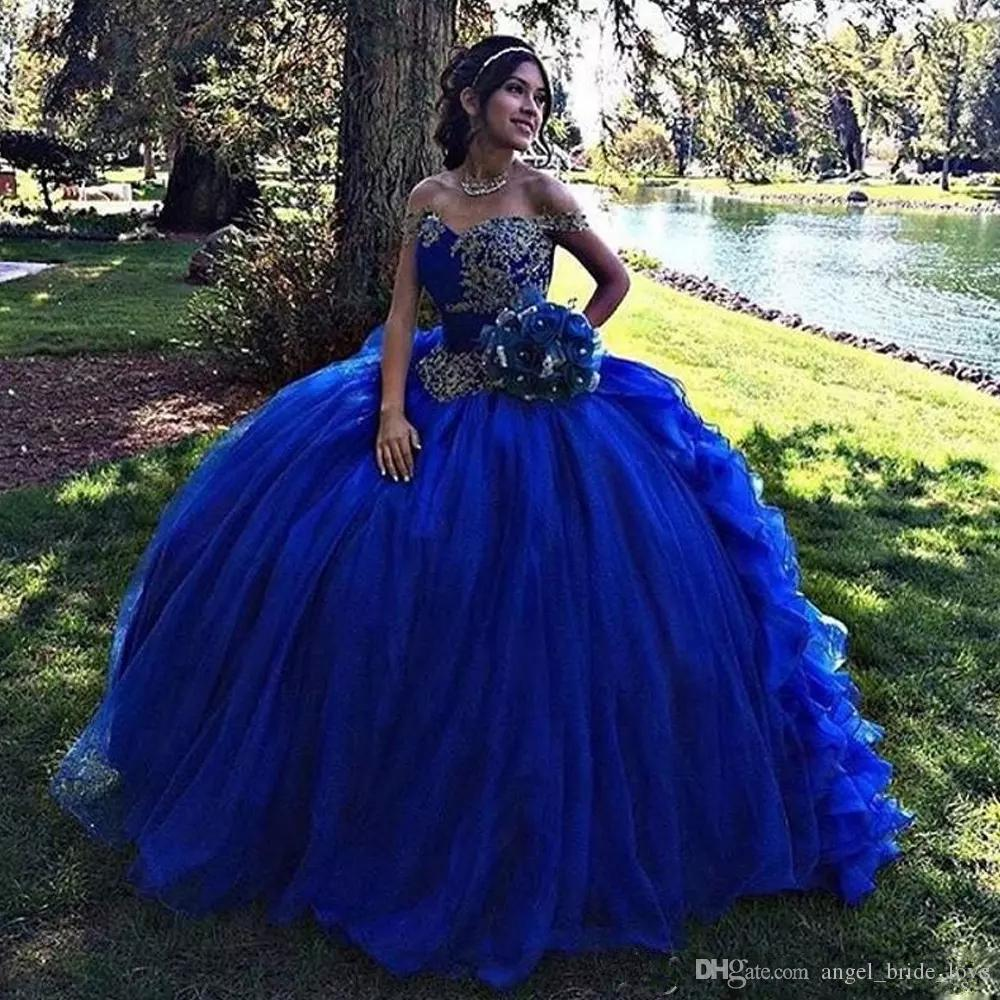 dcd5042c39 2018 New Royal Blue Ball Gown Quinceanera Dresses Off The Shoulder Ruffles  Bottom Junior Pageant Dress Princess Organza Sweet 16 Dress Q52 A  Quinceanera ...