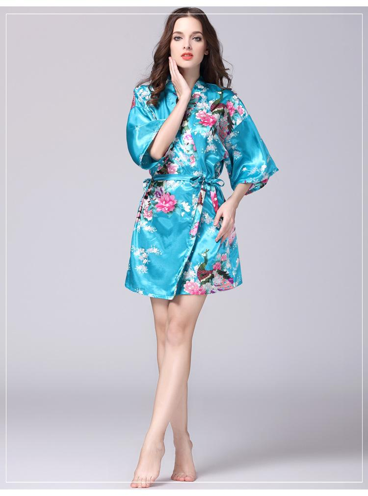 6 Plus Size Navy Blue Women S Night Robe Kimono Female Faux Silk Bath Gown  Summer Sleepwear Peafowl Size S M L XL XXL XXXL UK 2019 From Erzhang 433cdb879