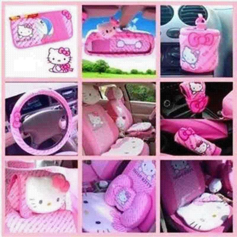 Hello Kitty Car Accessories Cute Cartoon KT Steering Wheel Cover Sun Visor CD Storage Bag Seat Belt Shifter Hand Brake Infant Carrier Covers