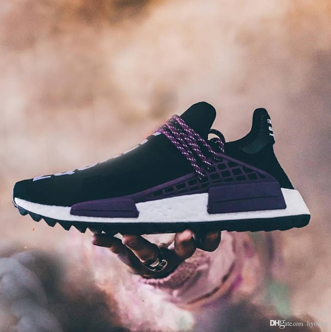0253cc449e8f9 2019 2018 Pharrell Williams Human Race NMD Equality Real Boost Black Purple  Sanskrit Sports Sneakers Men Running Shoes AC7033 From Hyoung