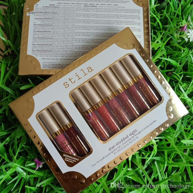 Stila 8 Colors Star-Studded Eight Liquid Listick Set Shimmer & Matte lip gloss lipgloss Long-lasting rouge a levre Kit