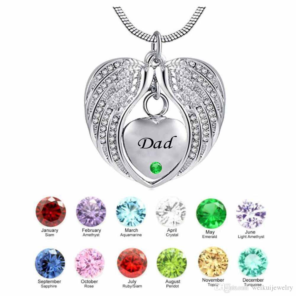 Creativity DAD Wing Heart birthstone Cremation Urn Necklace for Ashes Urn Jewelry Memorial Pendant