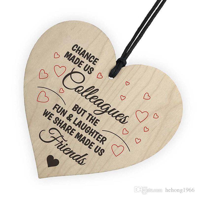 Heart Shaped Ornament Home Furnishing Christmas Tree Printing Woodiness Small Pendant Love Arts Crafts Wood 1 5ls V