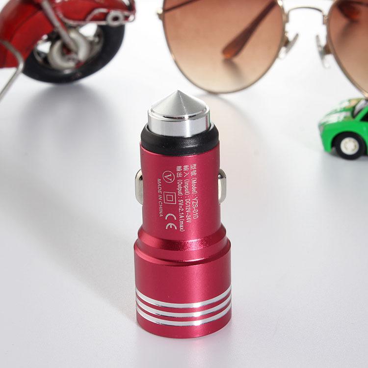Yeni Varış Evrensel Araç Şarj 2A 1A Çift USB Mat Metal Acil Güvenlik Çekiç Şarj Adaptörü