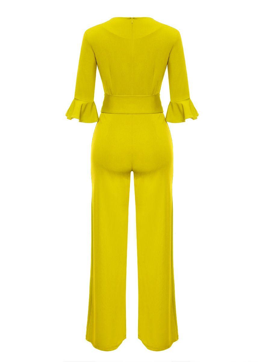 QA303 High quality long jumpsuit women ruffles sleeve elegant overalls ladies work office romper jumpsuit
