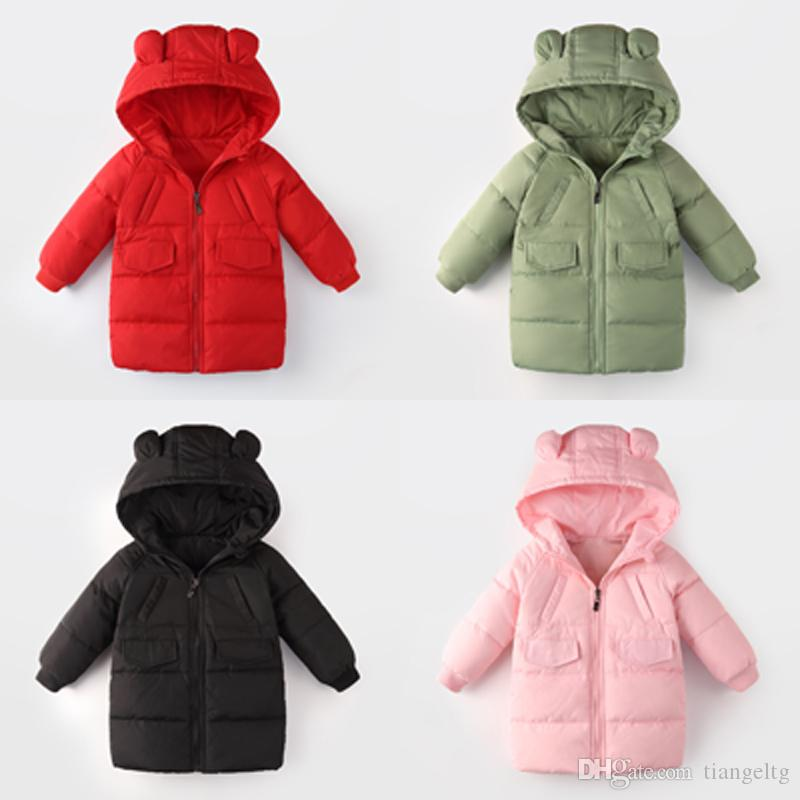 595631c82 Hooded Long Down Coats Thickening Rabbit Ears Hats Nylon Filling ...