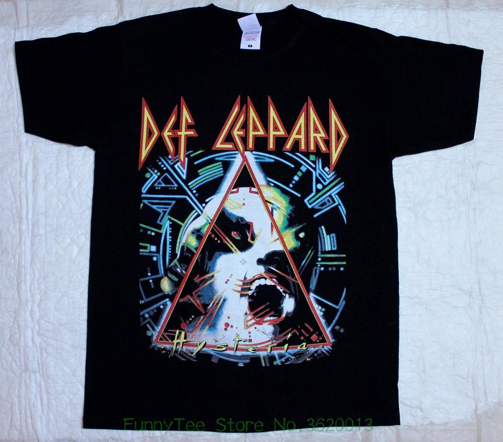 6599ed06c794f Def Leppard Hysteria Tour     88 Black T Shirt Witty Tee Shirts Tee Shirt  Funny From Funnyteestore