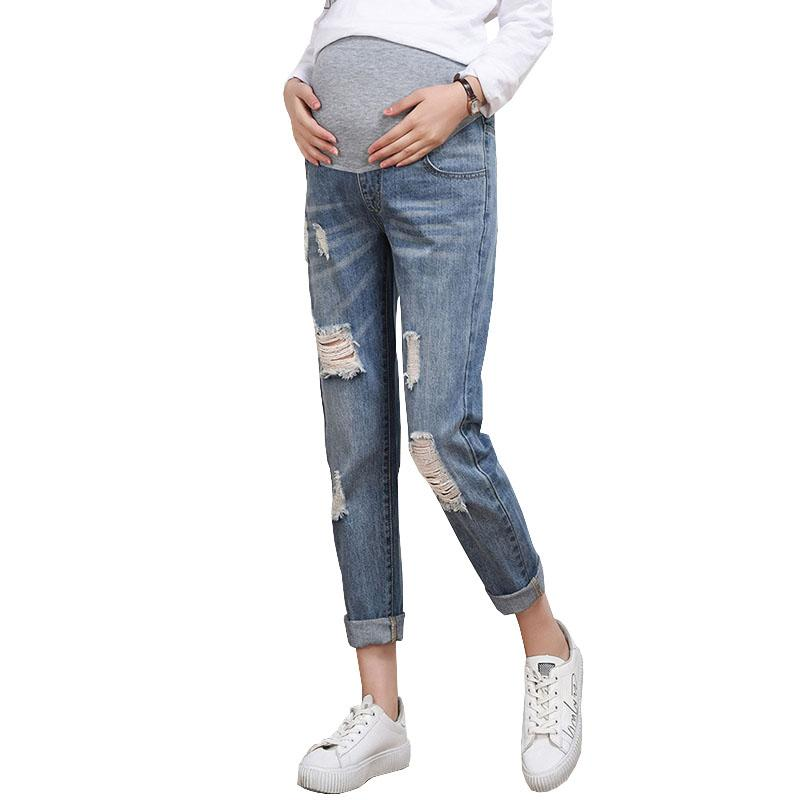 f5d880e95 2019 Hole Jeans For Pregnant Women Nursing Pants Maternity Clothes Elastic  Waist Denim Belly Pregnancy Trousers Loose Legging From Xunqian