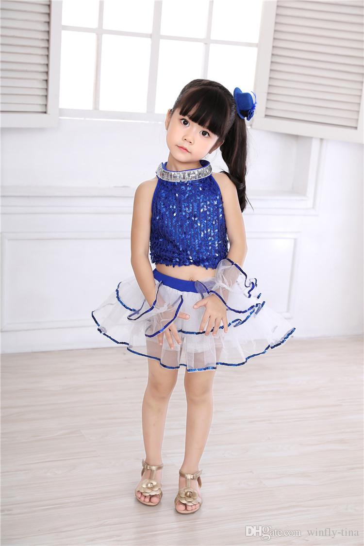 5 ensembles / filles paillettes tutu costumes fendus jupe bulle jardin d'enfants enfants vêtements de performance jupe ballet latine fête des enfants vêtements de danse