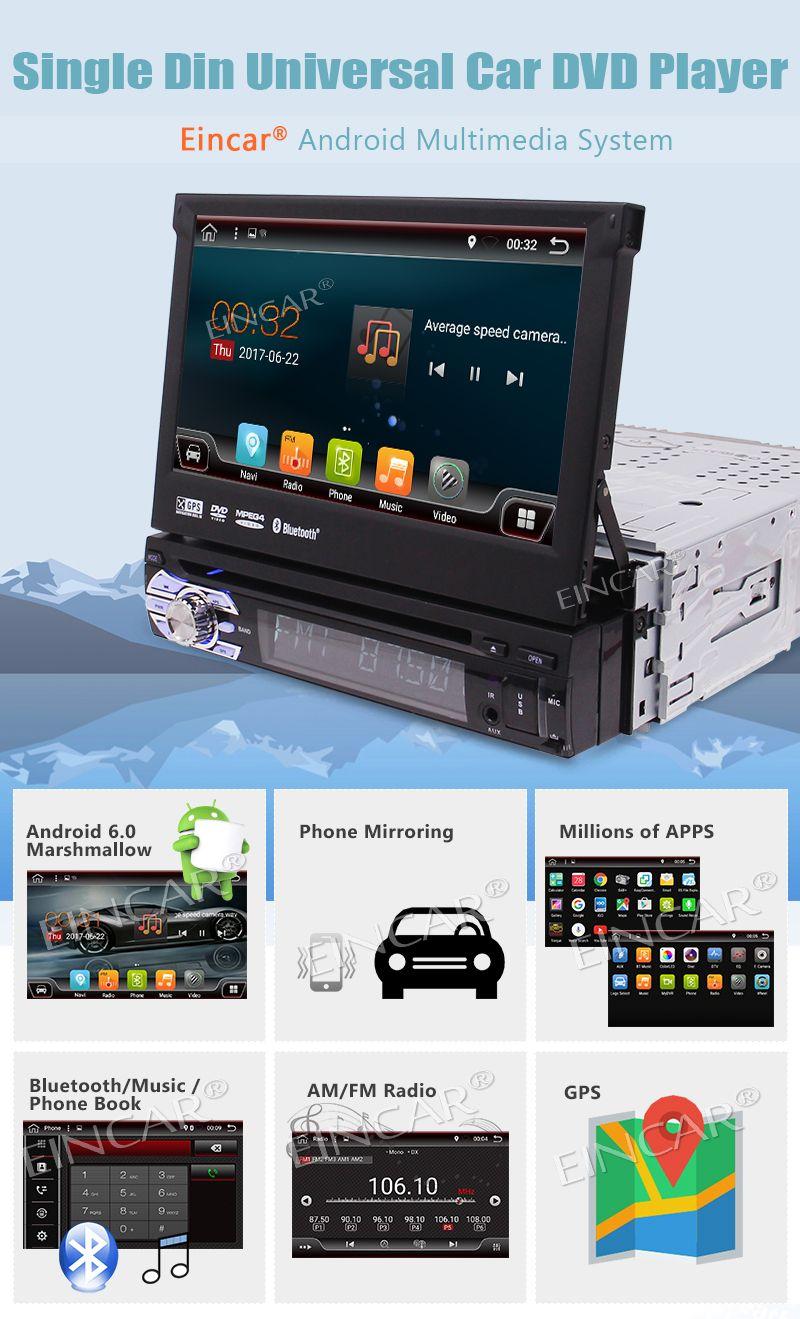 Caméra arrière inclus !!! Android 6.0 Stéréo 1Din Lecteur DVD de voiture GPS Audio Radio Unité principale Support Wifi OBD Cam-in AV Subwoofer