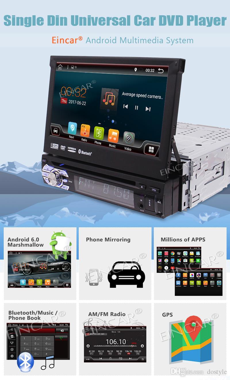 Solo Din Android 6.0 Quad Core 7 '' Pantalla táctil desmontable motorizada en el tablero Reproductor de DVD del coche Radio GPS WIFI Bluetooth + 4G Dongle
