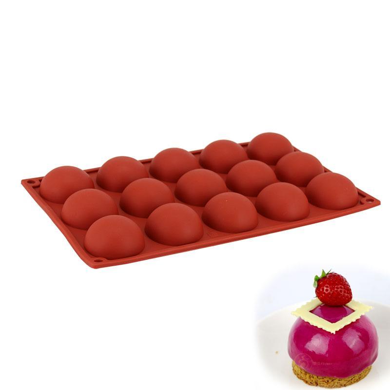 Grosshandel Antihaft Silikon Kuchen Form 15 Locher Mini Halbe Runde