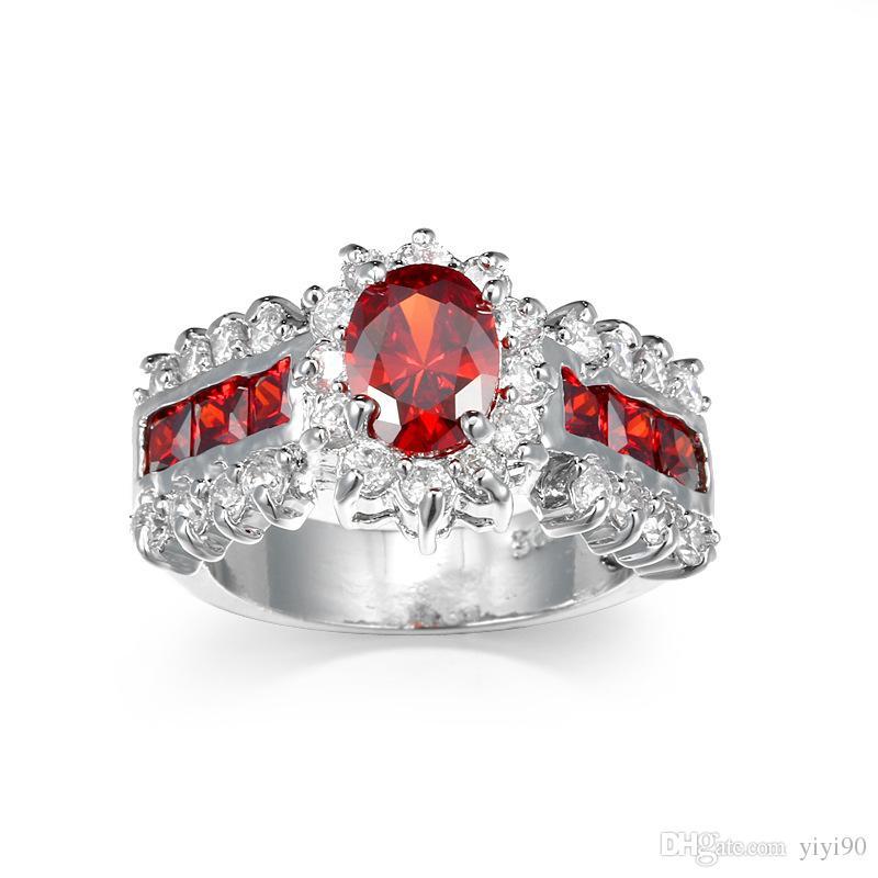 Mode Prong Einstellung Rot Granat Zirkonia Ringe Größe 6/7/8/9/10 Weißes Gold Überzogene Frauen Mann Engagement Geschenk