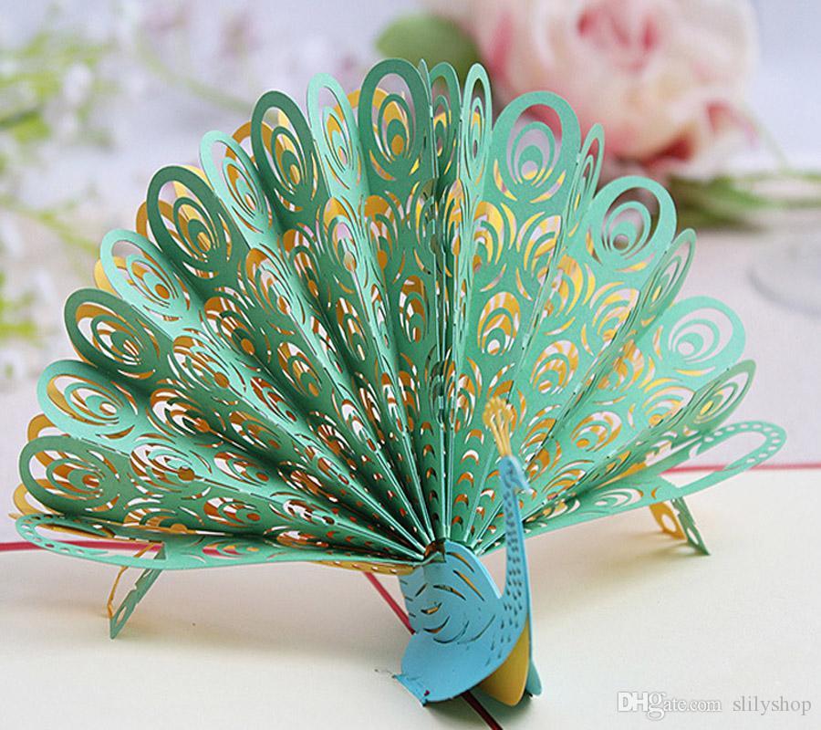 Carte 3D Compleanno Grazie Carte Regalo Cartoline d'auguri Carta d'epoca Kirigami Pop Up Laser Cut Peacock Personalizza gli inviti