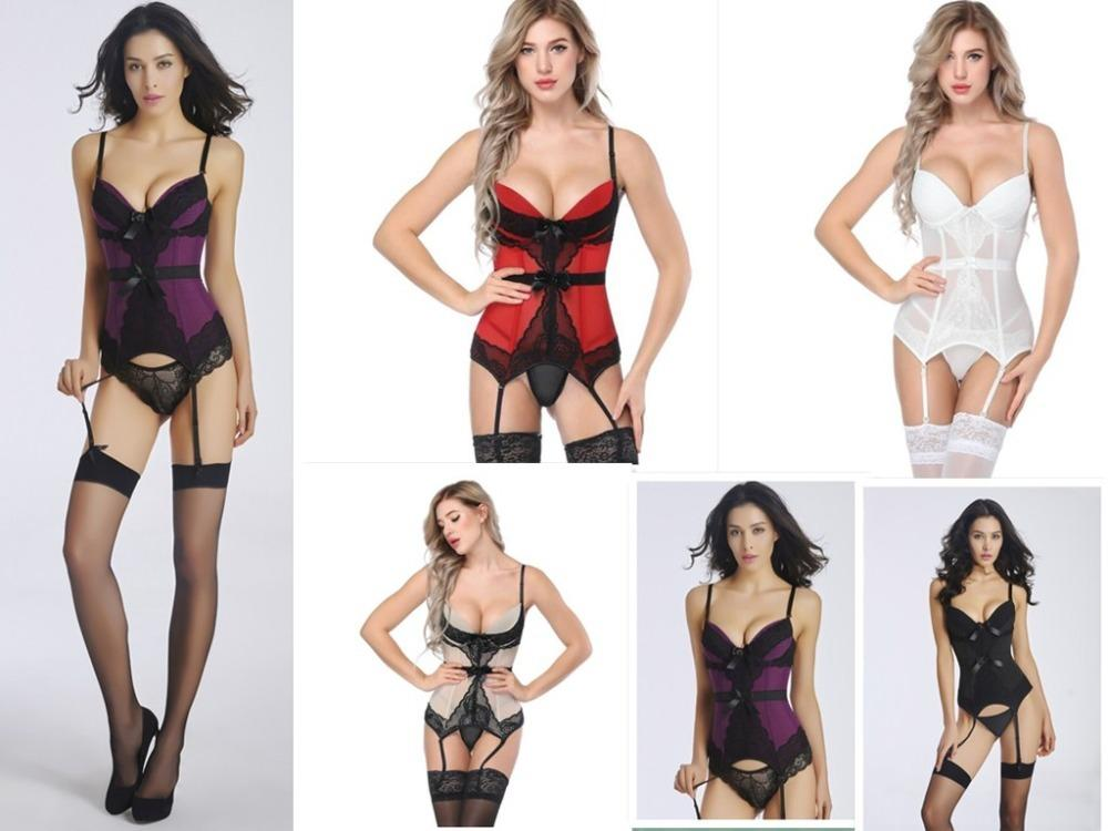 Lingerie Sexy Garter Set Erotic Hot Women Floral Lace Padded Bustier Corset  Girdle Waist Cincher Underwear Bodysuit Nightwear S18101509 Bra Panty Sets  ... dc1b3f2c7